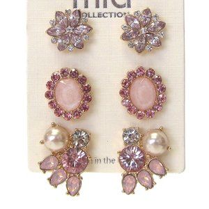 Set of three pair crystal earrings new Gold/ Pink